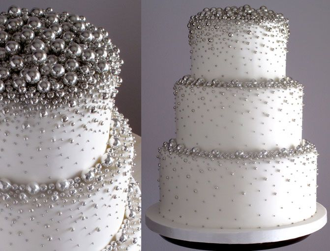 Silver Dragees Wedding Cake